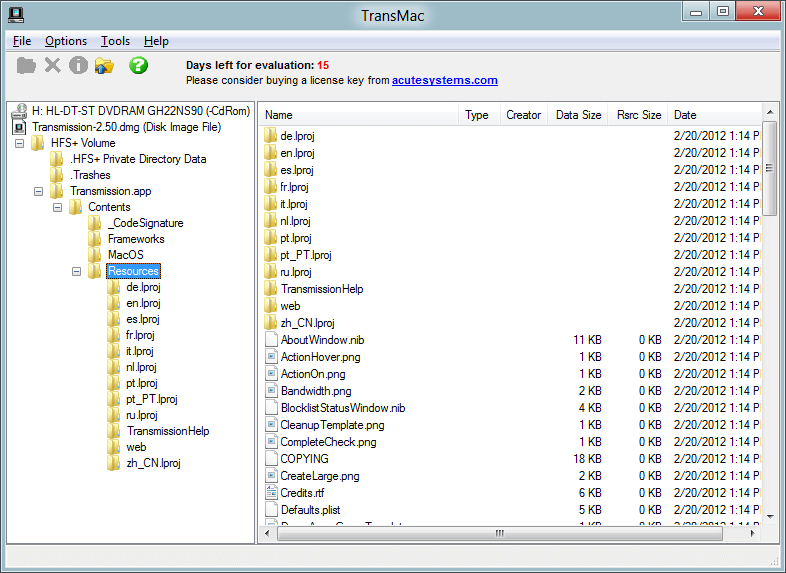 Acute Systems TransMac free license k